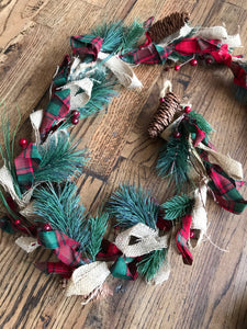 "Garland 65"" Red Plaid & Burlap"