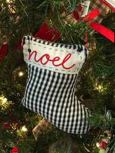 White and Black Plaid Pillow Ornaments