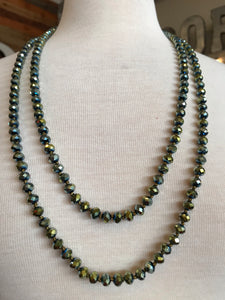 "60"" Bead Necklace - Metallic Green"