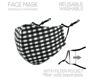 PRE-ORDER || Black & White Plaid Face Cover