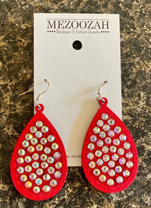 Laredo Rhinestone Teardrop Earrings in Red