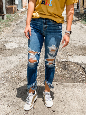 Judy Blue Distressed Raw Hem Jeans