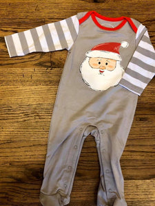 Infant Santa Grey Stripe Pajama Onesie