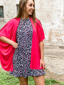 Solid Short Sleeve Kimono in Hot Pink