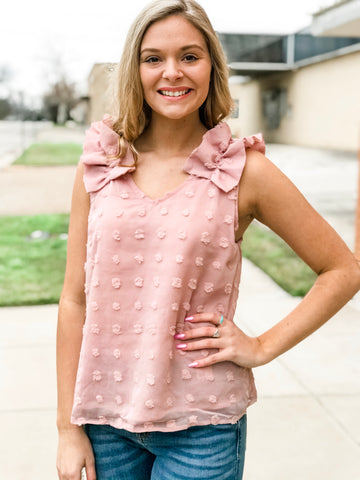 The Rosie Dotted Sleeveless Top in Blush