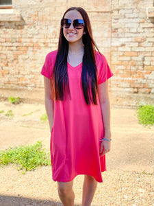 Kayla Solid Dress || Coral