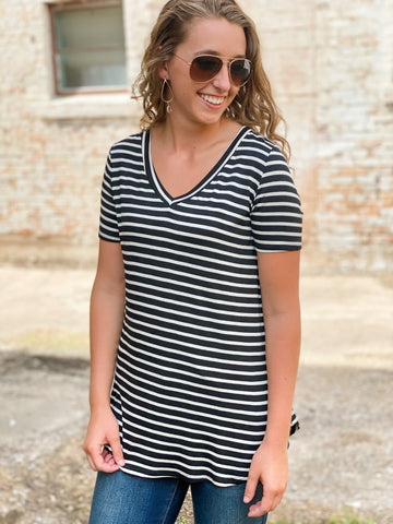Black and Ivory Striped Top
