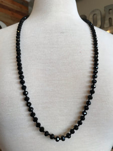 "18"" Bead Necklace - Black"