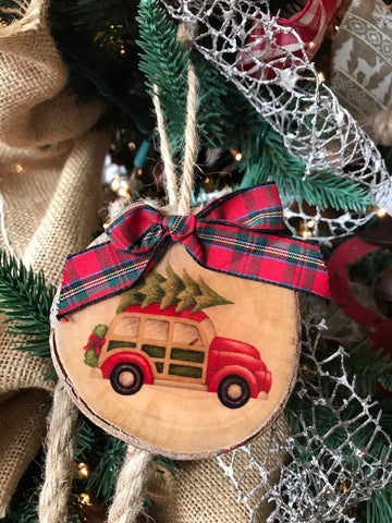 Wood Disc Holiday Ornament