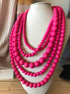 5 Strand Pink Necklace