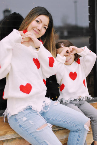 Mommy + Me (Adult) White Distressed Heart Sweater
