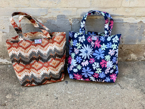 Makeup Junkie Reusable Tote || Navy Floral
