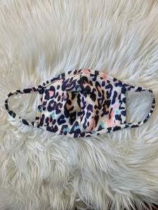 Cream + Pink/Blue Leopard Face Cover