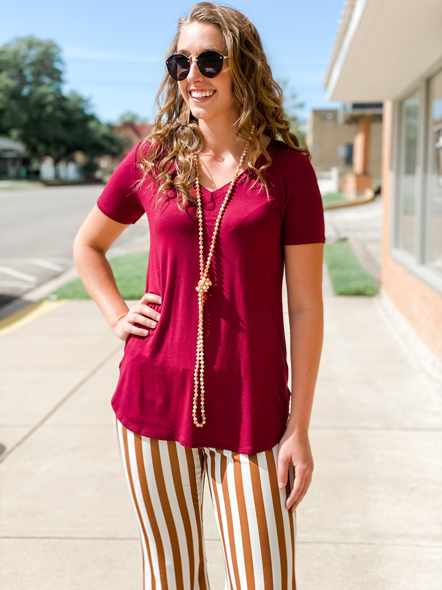 Solid Basic Top in Burgundy