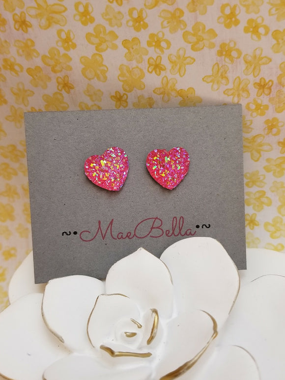 Druzy Heart Glitter Stud Earrings