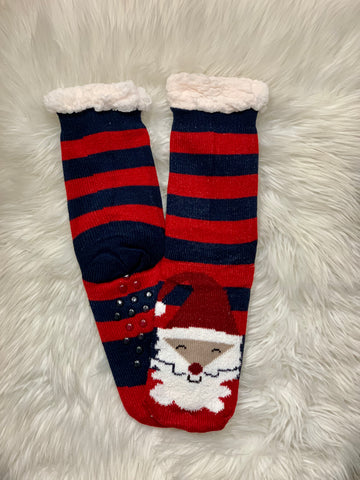 Red & Navy Santa Claus Camper Socks