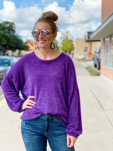 Mendy Fuzzy Sweater || Purple