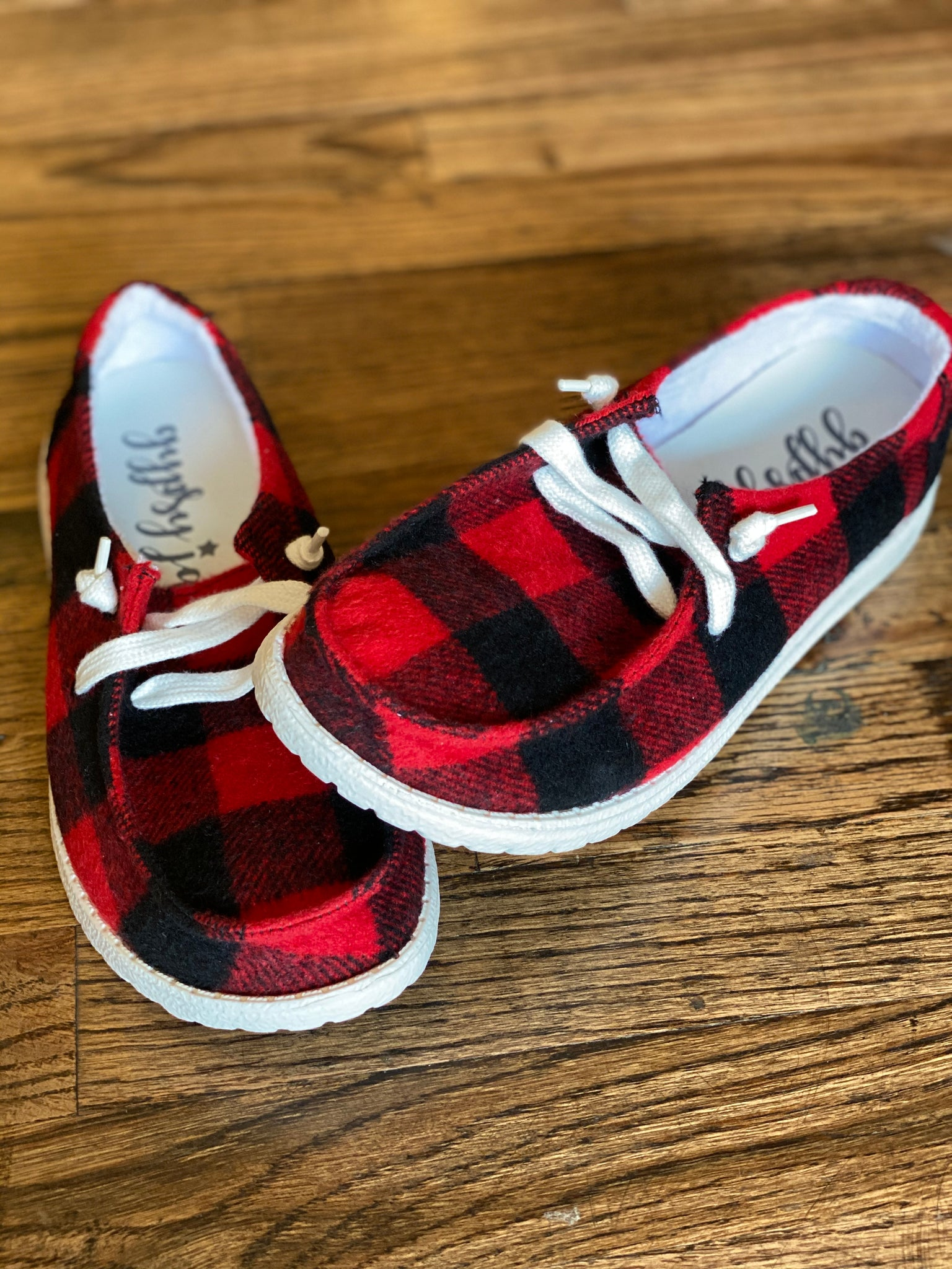 Gypsy Jazz by Very G || Heather Red Plaid Slip On Shoe