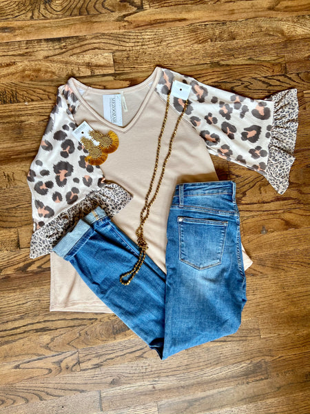Bailey Cream + Leopard Mix Top