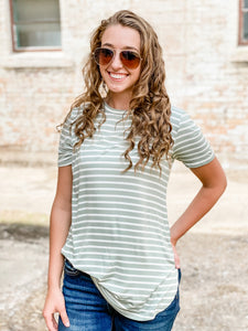 Sage and Ivory Striped Crewneck Top