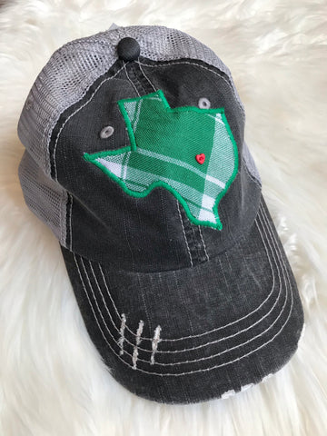 Green and White Plaid Trucker Hat with Heart