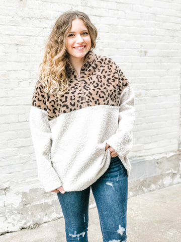 Animal Print Contrast Pullover