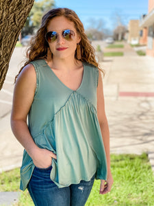 The Tori Sleeveless Raw Edge Top in Sage