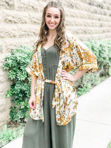 The Chloe Mustard and Olive Floral Kimono