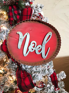 "Galvanized/Rust Red ""NOEL"" Sm"