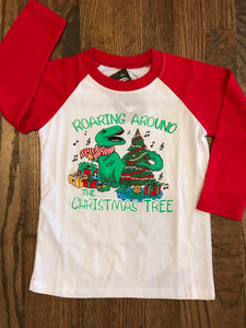 Roaring Around The Christmas Kids 3/4 Sleeve Tee