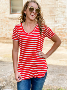Red and Ivory Striped Top