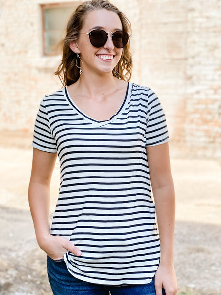 Ivory and Black Striped Top