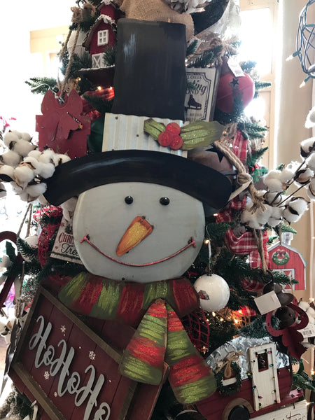 Galvanized/Rust Snowman Head Lg