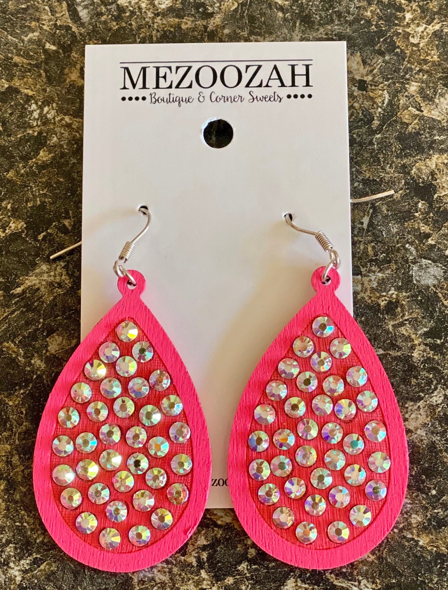 Laredo Rhinestone Teardrop Earrings in Pink