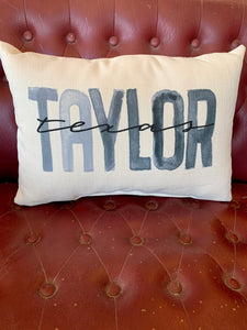Gray Poster Town + State Pillow || Taylor, Texas