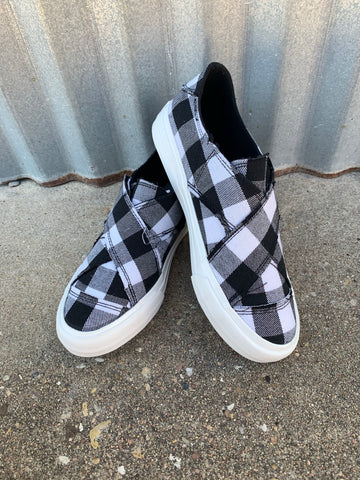 Gypsy Jazz || White/Black Plaid Along Shoe