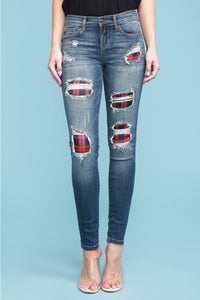 Pre-Order Judy Blue Buffalo Plaid Red Print Patch Skinny Jeans