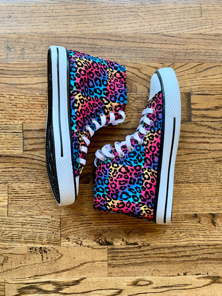 Star High Top Shoe || Leopard Rainbow