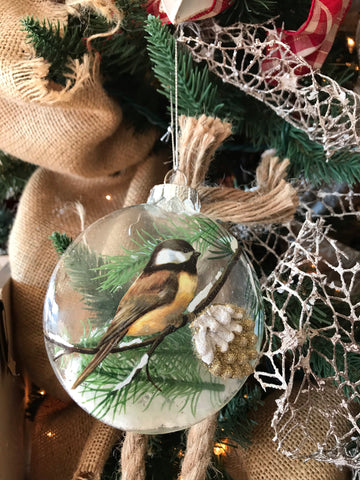 Glass Ornament with Bird