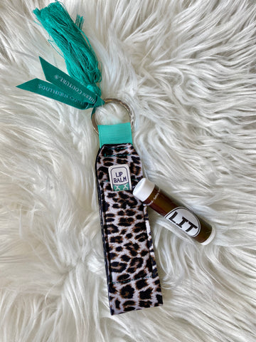 Leopard Lip Balm Holder Keychain