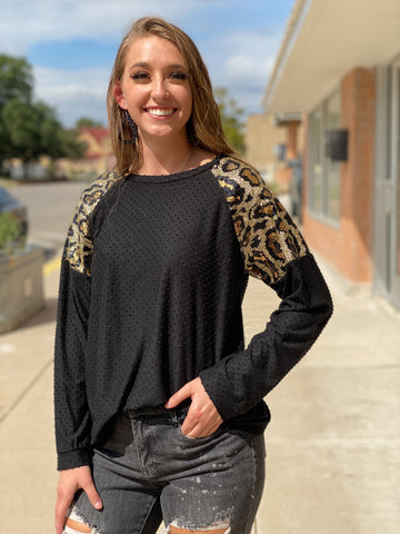 Madyson Black + Leopard Sequin Sleeve Top