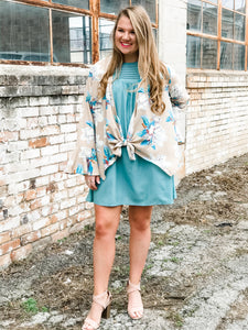 The Tan and Dusty Blue Tie-Front Kimono