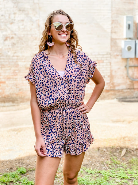 The Zoey Animal Print Ruffled Romper