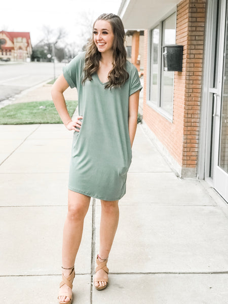 Solid Vneck Knee-Length Dress