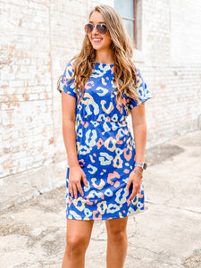 Lyndley Leopard Navy Dress
