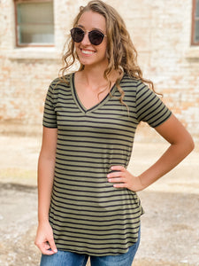 Olive and Black Striped Top
