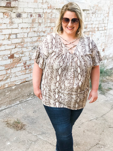On the Wild Side Snake Print Top