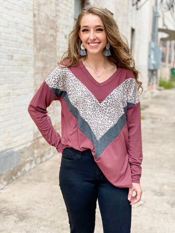 Michelle Burgundy + Leopard Mix Top
