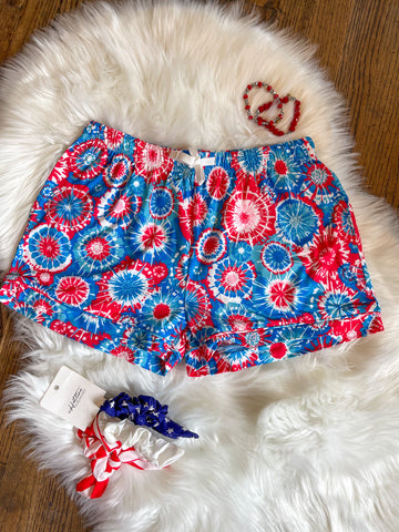 Patriotic Tie Dye Lounge Shorts