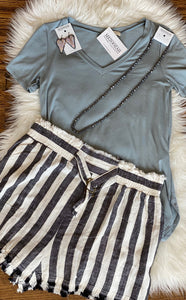 Black and White Striped Linen Shorts
